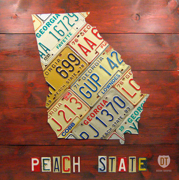 Georgia Print featuring the mixed media Georgia License Plate Map by Design Turnpike