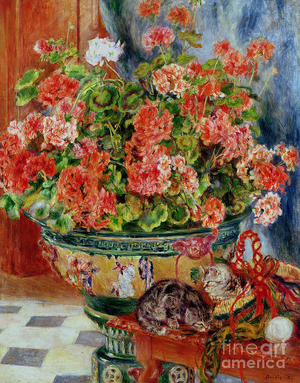 Geraniums And Cats Print featuring the painting Geraniums And Cats by Pierre Auguste Renoir