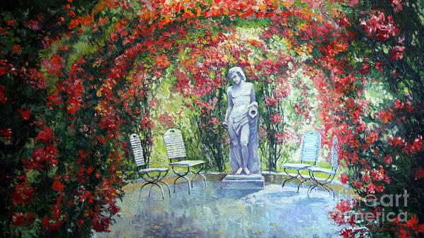 Oil Print featuring the painting Germany Baden-baden Rosengarten 02 by Yuriy Shevchuk