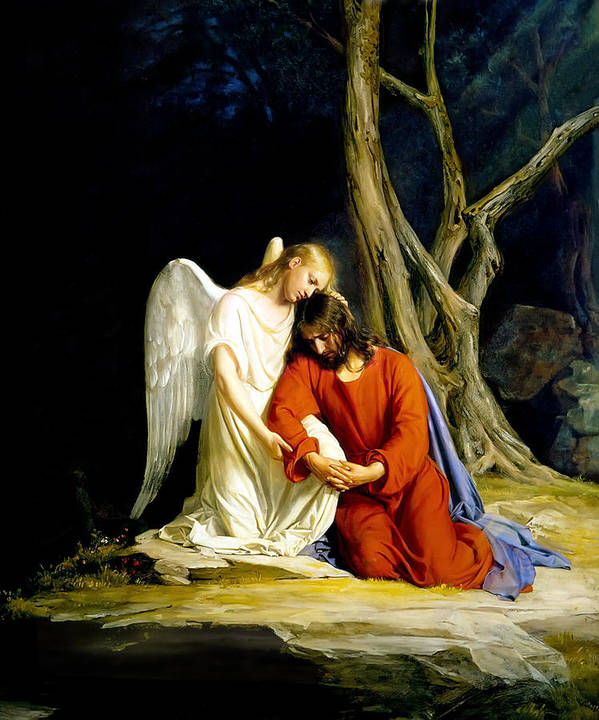 Carl Bloch Print featuring the painting Gethsemane by Carl Bloch