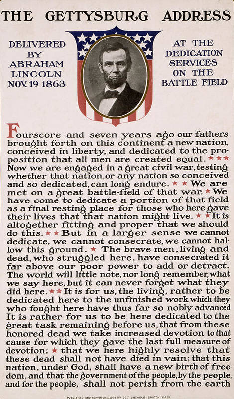 gettysburg Address Print featuring the photograph Gettysburg Address by International Images