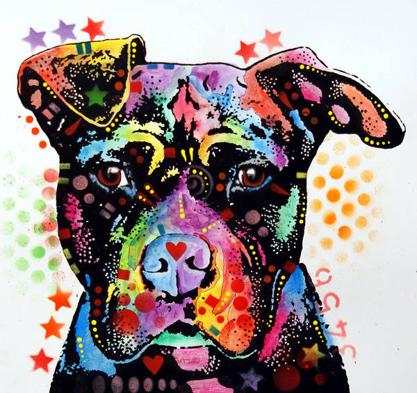 Pitbull Print featuring the painting Give Love Pitbull by Dean Russo