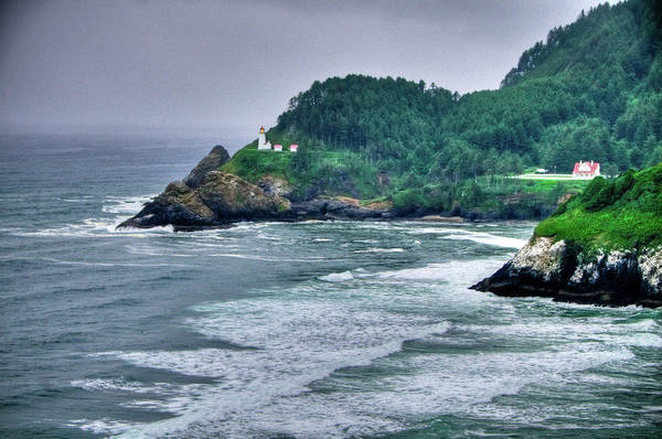 Beach Print featuring the photograph Gloomy Heceta Lighthouse by Connie Cooper-Edwards