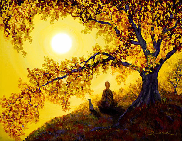 Zen Print featuring the painting Golden Afternoon Meditation by Laura Iverson