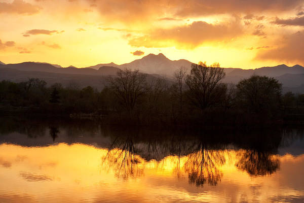 Longs Peak Print featuring the photograph Golden Ponds Longmont Colorado by James BO Insogna