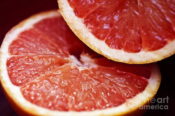 Circle Print featuring the photograph Grapefruit Halves by Ray Laskowitz - Printscapes