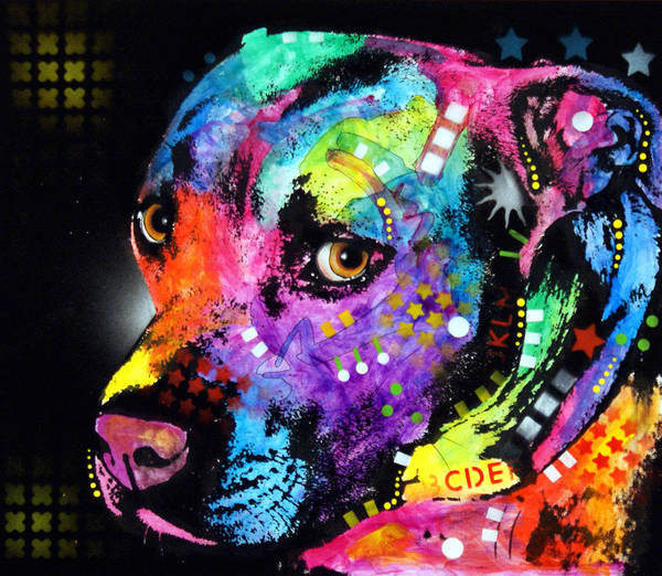 Pit Bull Print featuring the painting Gratitude Pitbull by Dean Russo