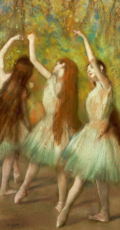 Green Dancers Print featuring the pastel Green Dancers by Edgar Degas