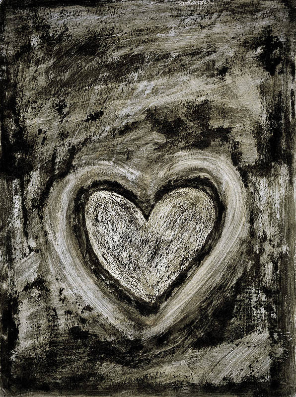 Abstract Art Print featuring the painting Grunge Heart by Frank Tschakert