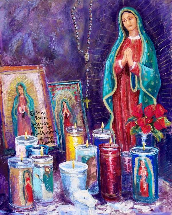 Guadalupe Print featuring the pastel Guadalupe Y Las Velas Candles by Candy Mayer