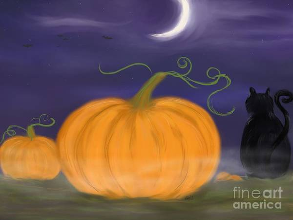 Samhain Print featuring the painting Halloween Night by Roxy Riou