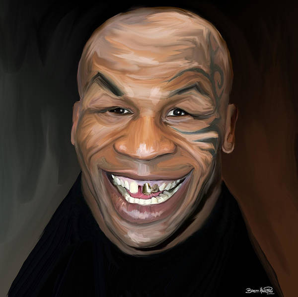 Mike Tyson Iron Teeth Gold Tattoo Smile Boxer Print featuring the painting Happy Iron Mike Tyson by Brett Hardin