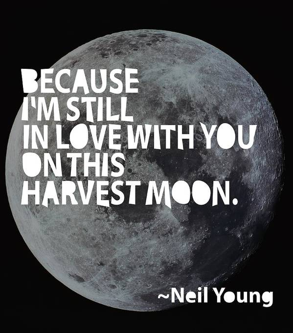 Neil Young Print featuring the painting Harvest Moon by Cindy Greenbean