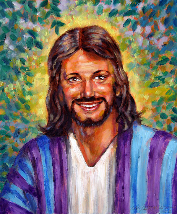 Jesus Smiling Print featuring the painting He Smiles by John Lautermilch