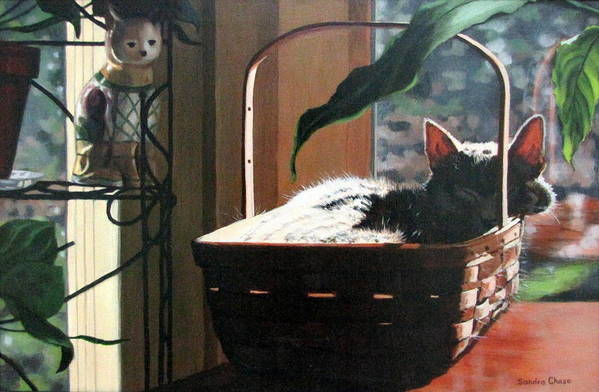 Cat Print featuring the painting Her Basket by Sandra Chase