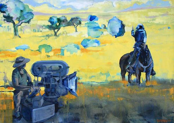 Landscape People Animals Horses Horse Film Camera Yello Blue Print featuring the painting Hero On A Horse by Amy Bernays
