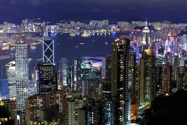 Horizontal Print featuring the photograph Hong Kong At Night by Leung Cho Pan