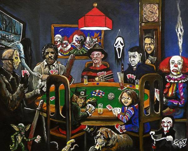 Horror Print featuring the painting Horror Card Game by Tom Carlton