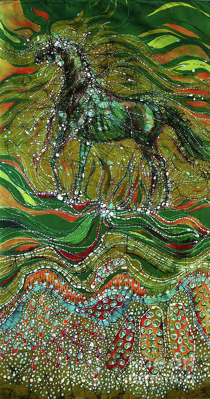 Horse Print featuring the tapestry - textile Horse Rises From The Earth by Carol Law Conklin