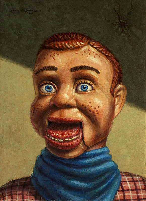 Howdy Doody Print featuring the painting Howdy Doody Dodged A Bullet by James W Johnson