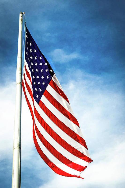 American Flag Print featuring the photograph I Pledge Allegiance by Shelby Young