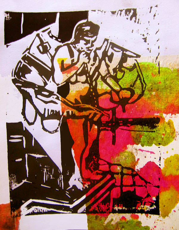 Lino Print featuring the mixed media icarus II by Adam Kissel