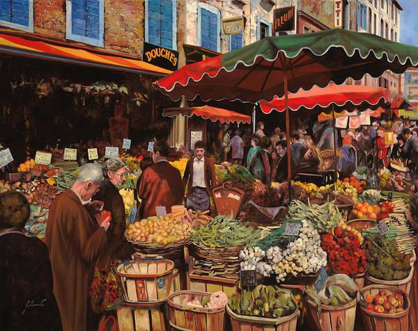 Market Print featuring the painting Il Mercato Di Quartiere by Guido Borelli