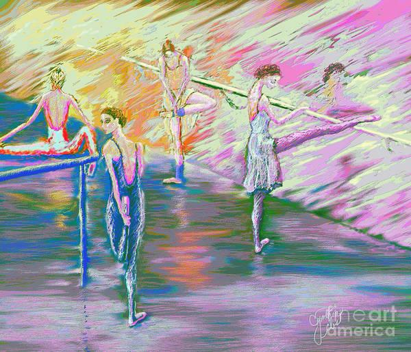 Ballet Dancers Print featuring the digital art In Ballet Class by Cynthia Sorensen
