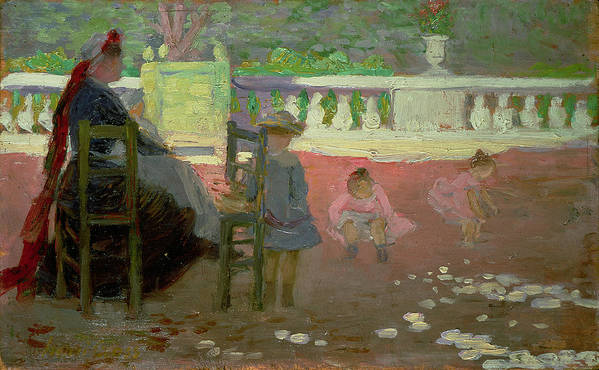 The Print featuring the painting In The Luxembourg Gardens by Henri Edmond Cross