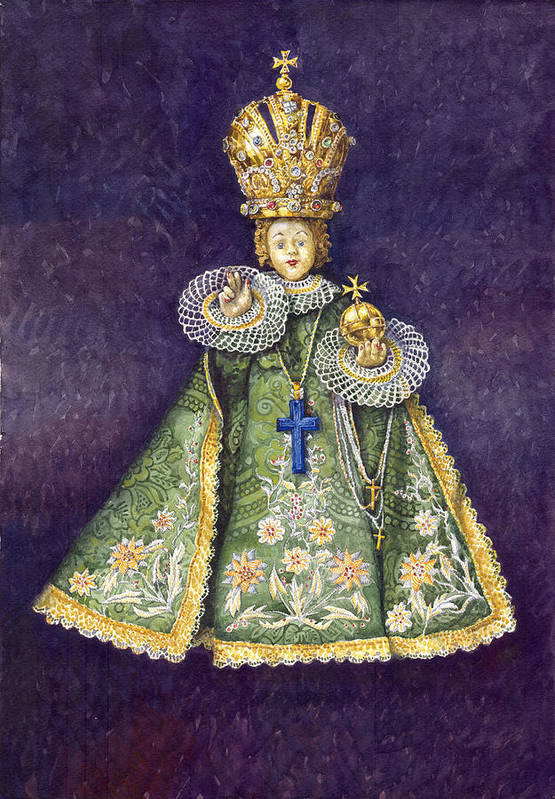 Watercolour Print featuring the painting Infant Jesus Of Prague by Yuriy Shevchuk