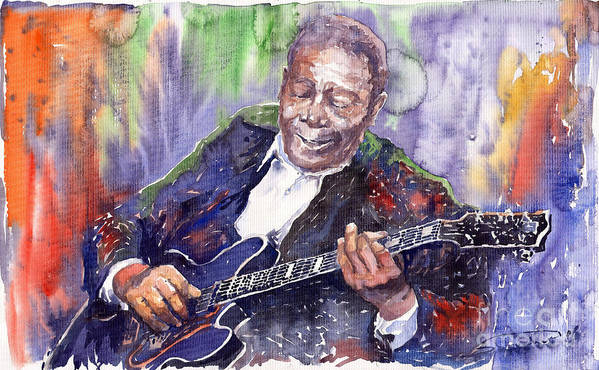 Jazz Print featuring the painting Jazz B B King 06 by Yuriy Shevchuk
