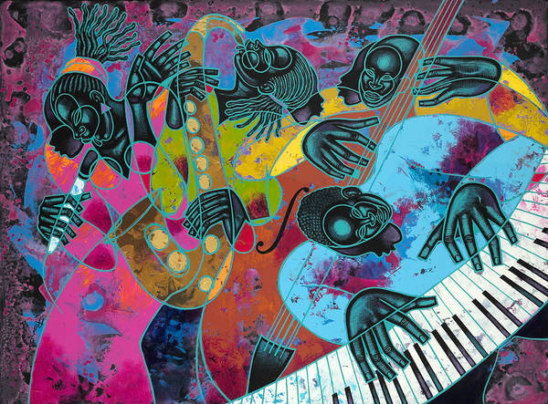 Figurative Print featuring the painting Jazz On Ogontz Ave. by Larry Poncho Brown