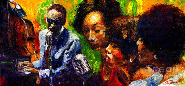 Jazz Print featuring the painting Jazz Ray Song by Yuriy Shevchuk