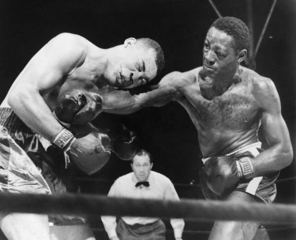 History Print featuring the photograph Joe Louis Left, Takes A Hard Right by Everett