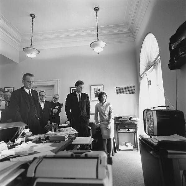 History Print featuring the photograph John Kennedy And Others Watching by Everett