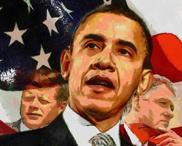 Portrait Print featuring the painting Kennedy-clinton-obama by Anthony Caruso