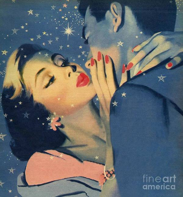Female; Male; Kiss; Kissing; Embracing; Couple; Lovers; Stars; Love; 50s; Fifties; Romance; Kiss Goodnight Print featuring the painting Kiss Goodnight by English School