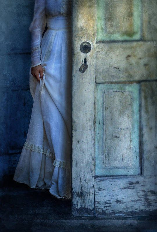 Woman Print featuring the photograph Lady In Vintage Clothing Hiding Behind Old Door by Jill Battaglia