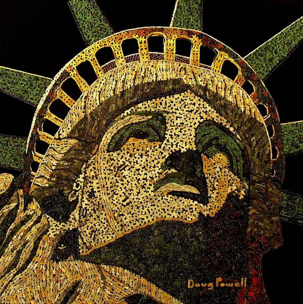 Statue Of Liberty Print featuring the mixed media Lady Liberty by Doug Powell