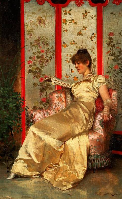 Lady Print featuring the painting Lady Reading by Joseph Frederick Charles Soulacroix