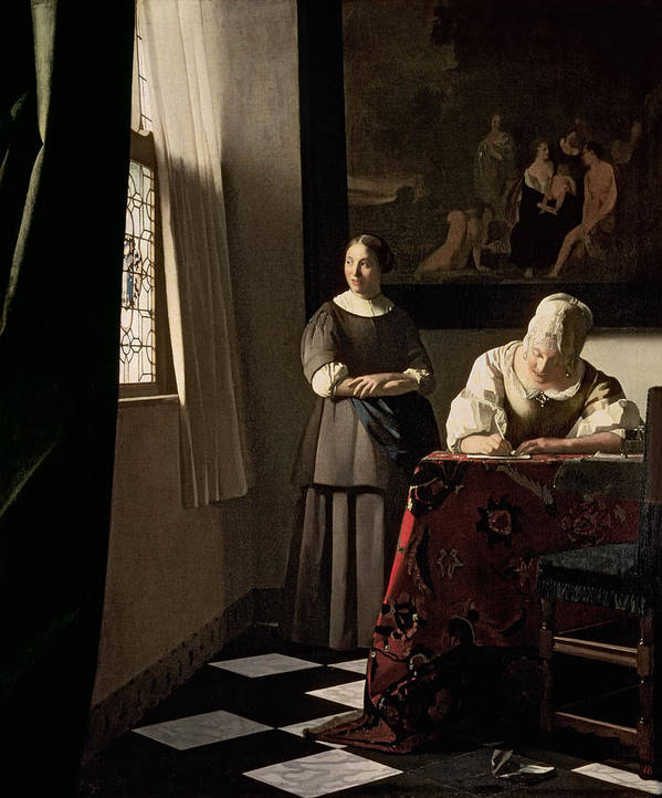 Lady Print featuring the painting Lady Writing A Letter With Her Maid by Jan Vermeer