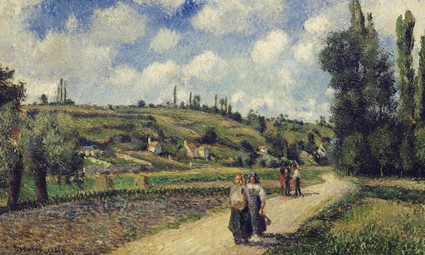 Landscape Near Pontoise Print featuring the painting Landscape Near Pontoise by Camille Pissarro