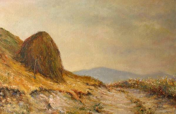 Armenia Print featuring the painting Landscape With A Hayrick by Tigran Ghulyan