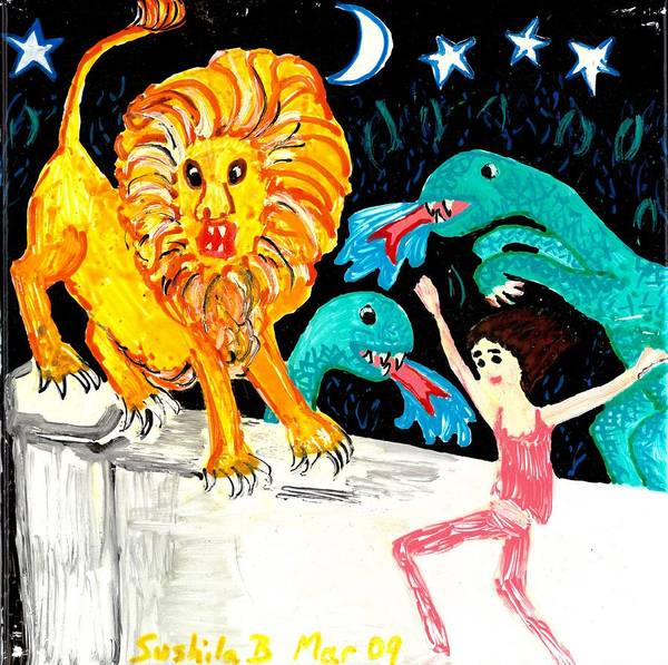 Sue Burgess Print featuring the painting Leap Away From The Lion by Sushila Burgess