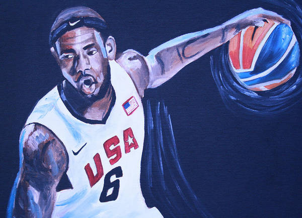 Basketball Paintings Print featuring the painting Lebron James Portrait by Mikayla Ziegler