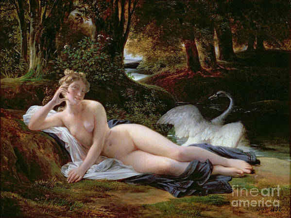 Leda Print featuring the painting Leda And The Swan by Francois Edouard Picot