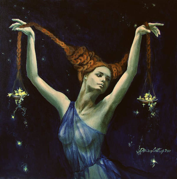 Art Print featuring the painting Libra From Zodiac Series by Dorina Costras