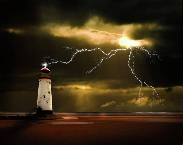 Lighthouse Print featuring the photograph Lightning Storm by Meirion Matthias
