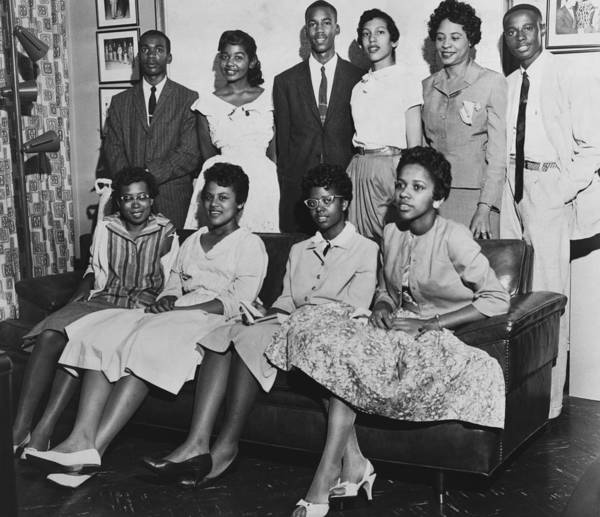 History Print featuring the photograph Little Rock Nine And Daisy Bates Posed by Everett