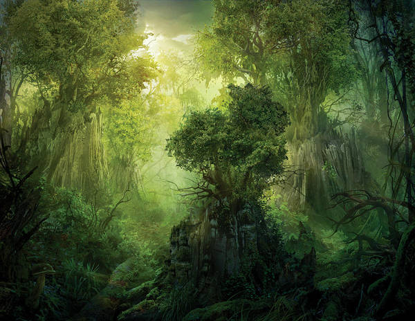 Landscape Print featuring the painting Llanowar Reborn by Philip Straub